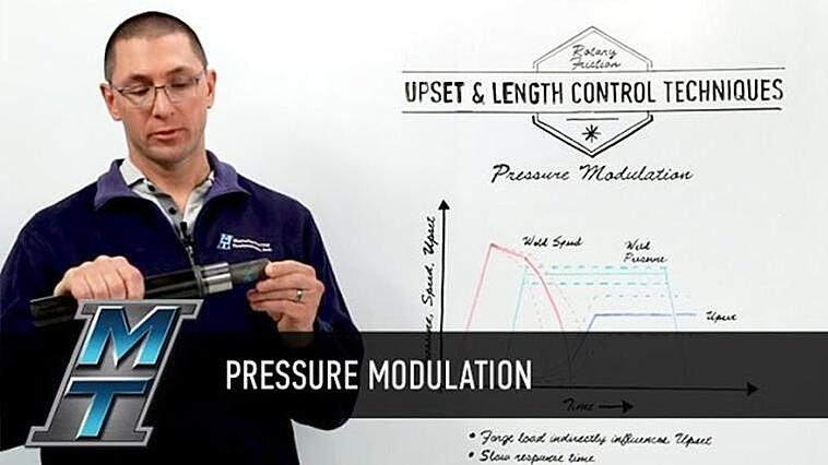 Pressure Modulation closes the loop on upset control for rotary friction welding.
