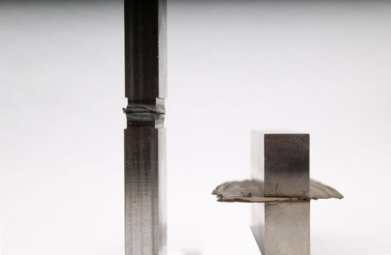 Flash on low force friction welding part vs. traditional friction welding part