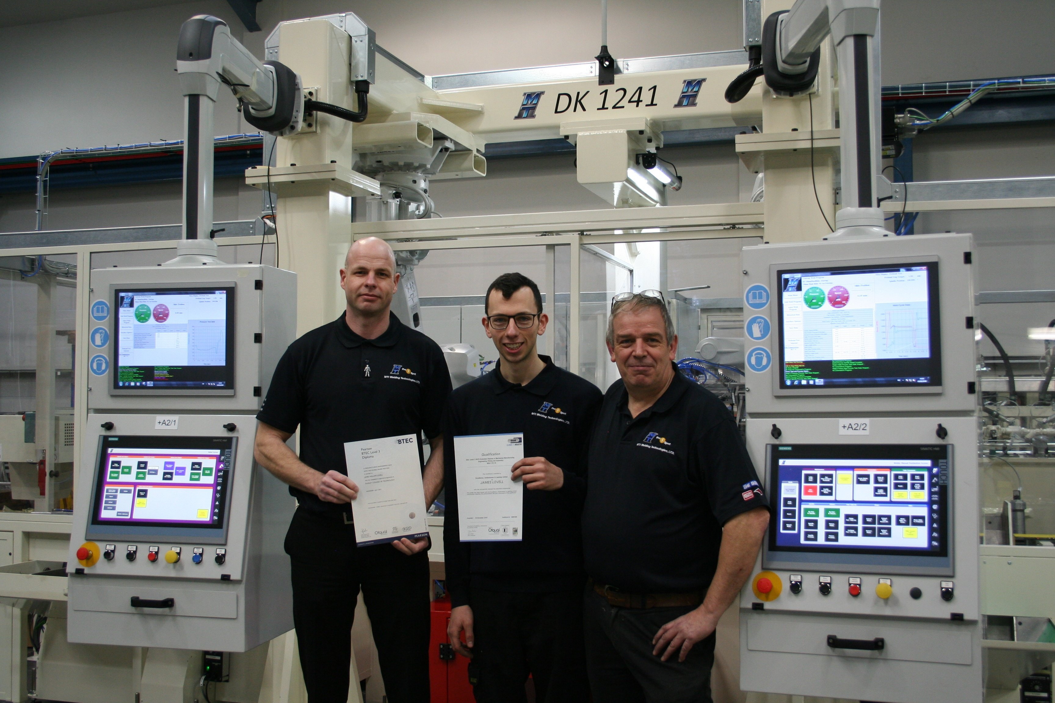 Junior  service engineer James Lovell pictured with apprentice manager Chris Price and Anthony Clews, technical manager and head of Service.